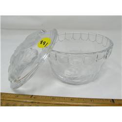 DECORATIVE SUGAR DISH (FROSTED GLASS) *FLORAL PATTERN*