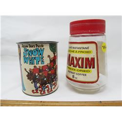LOT INCLUDING PUZZLE IN A CAN AND A COFFEE JAR (GLASS -MAXIM FREEZE DRIED COFFEE, SNOW WHITE JIGSAW