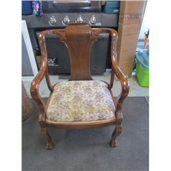 WOODEN CHAIR WITH ARMS (UPHOLSTERED SEAT)