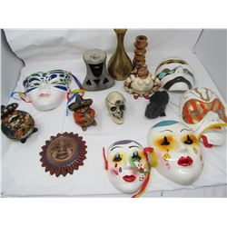 LOT OF ASSORTED ITEMS (MASKS, VASE, FIGURINES, SKULL, ETC…)