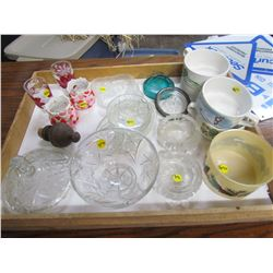 LOT OF GLASS WARE (GLASSES, ASHTRAYS, SOUP MUGS, CANDY DISH ETC