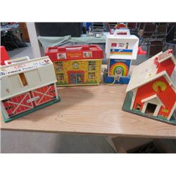 SCHOOL HOUSE AND HOSPITAL FISHER PRICE BARN AND GAS PUMP