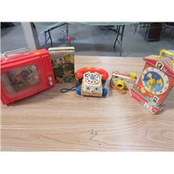 CAMERA, PHONE, CLOCK, RADIO- FISHER PRICE AND TOY T.V. OHIO ART COMPANY