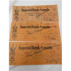 3 IMPERIAL BANK OF CANADA BANK NOTES