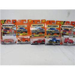 LOT OF 5 MATCHBOX TOYS (SUBURBAN, UTILITY TRUCK, WATTS UP, ETC…) *N.O.S.*
