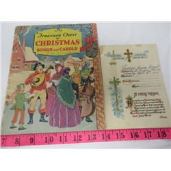 LOT INCLUDING, 1915 COMMUNION CARD AND 1936 CHRISTMAS BOOK