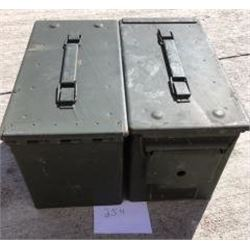 LOT OF 2 AMMO CANS ( US ARMY-50 CALIBER)