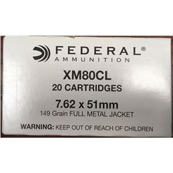 AMMO (FEDERAL) *7.62 X 51MM) (308 WIN) *149 GRAIN* (FMJ) *20 ROUNDS*