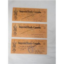 LOT OF 3 IMPERIAL BANK OF CANADA CHEQUES (1936 X 2) *1937*