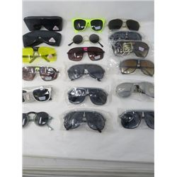 LOT OF 18 PAIR OF SUNGLASSES (NEW) *VARIOUS STYLES* (ADULT SIZES) *UV PROTECTION*