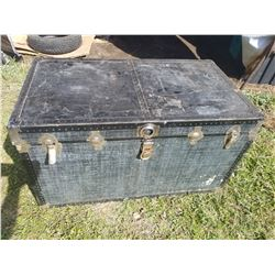"BLUE METAL STORAGE TRUNK (40"" X 22"" X 22"")"