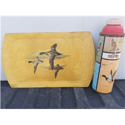 VINTAGE THERMOS WITH GAME BIRDS AND MALLARD DUCK TRAY