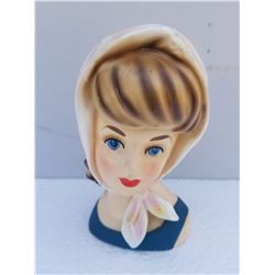 "HEAD VASE (REPRODUCTION JAPAN) * 6"" * (NO CHIPS OR CRACKS)"