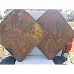 HEAVY STEEL EMBOSSED ROAD SIGNS (1940'S) *RIGHT CURVE* (LEFT CURVE) (2' X 2')
