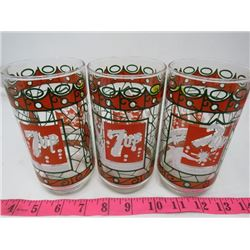 LOT OF 3 GLASSES (7-UP)