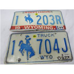 LOT OF 2 LICENSE PLATES (WYOMING)