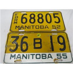 LOT OF 2 LICENSE PLATES ( FARM 1952, MANITOBA 1955 TAG BUT PLATE IS 1952)