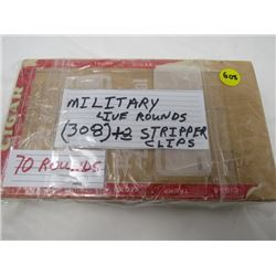 MILITARY LIVE ROUNDS 308 + 2 STRIPPER CLIPS- 70 ROUNDS