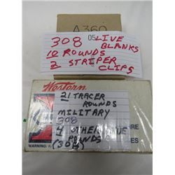 308 LIVE BLANKS 10 ROUNDS + 2 STRIPPER CLIPS, 21 TRACER ROUNDS MILITARY 308 4 OTHER LIVE ROUNDS