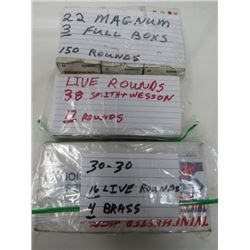 22 MAGNUM 3 FULL BOXES 150 ROUNDS, LIVE ROUNDS 38 SMITH  & WESSON 17 ROUNDS, 30-30 16 LIVE ROUNDS 4