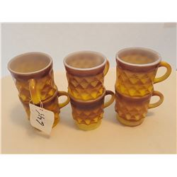 LOT OF 6 CUPS AND MUGS (FIREKING) *YELLOW AND BROWN*