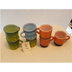 LOT OF 7 CUPS AND MUGS (FIREKING) *MIXED COLORS*