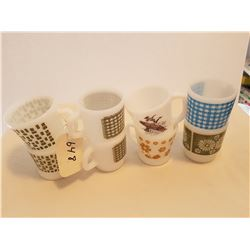LOT OF 8 CUPS AND MUGS (FIREKING) *WHITE, DIFFERENT DESIGNS*