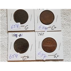 LOT OF 4 LARGE ONE CENT COINS (1859, 76H, 82H, 95)