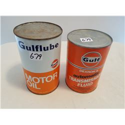 LOT OF 2 OIL TINS (GULF OIL, GULF TRANSMISSION) * BOTH FULL*