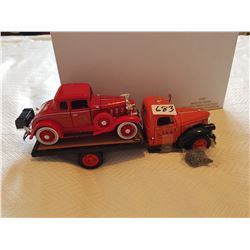 LOT OF 2 TOY TRUCKS ( 1941 CHEV FLAT BED, 1932 CHEV ROADSTER FIRE CAR)