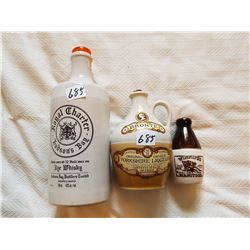 LOT INCLUDING A HUDSON BAY WHISKEY BOTTLE AND 2 CERAMIC JUGS