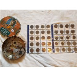 LOT OF ASSORTED WORLD COINS (TIN CAN CONTAINING SEVERAL, AND 2 SHEETS OF BRITISH COINS)