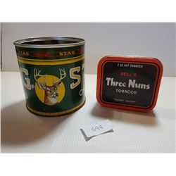 STAG AND THREE NUNS TOBACCO TIN CANS