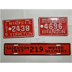 YORKTON AND BRANDON BICYCLE PLATES & SASKATOON MOTOR DELIVERY