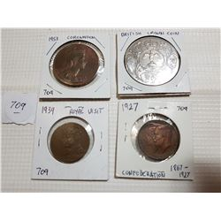 1927, 39, 53 ROYALTY MEDALLIONS & BRITISH CROWN COIN