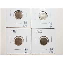 1917, 18, 19, 20 SILVER 5 CENT COINS
