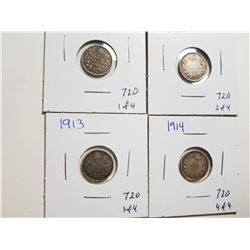 1911, 12, 13, 14 SILVER 5 CENT COINS