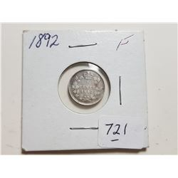1892 5 CENT SILVER COIN