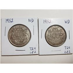 1952 NARROW AND WIDE DATE 50 CENT SILVER COINS