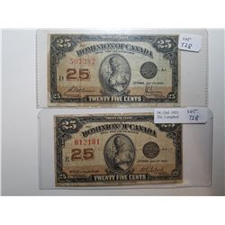 1923 SHINPLASTERS 25 CENT NOTES, 2 DIFFERENT SIGNATURES