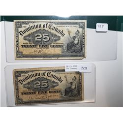 1900 SHINPLASTERS 25 CENT NOTES, 2 DIFFERENT SIGNATURES