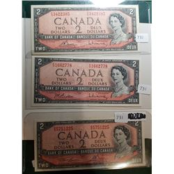 1954 2 DOLLAR BANK NOTES, ALL DIFFERENT SIGNATURES