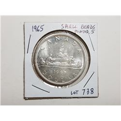 1965 1 DOLLAR SILVER COIN, SMALL BEADS POINTED 5