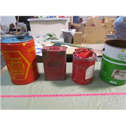 LOT OF VINTAGE GAS PAILS AND ONE CO-OP PAIL