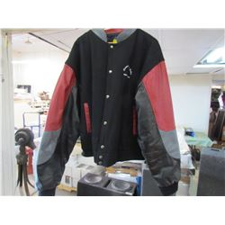 FELT AND LEATHER JACKET (MEN'S SIZE 3XL) *KENWOOD* (RED, GRAY AND BLACK)