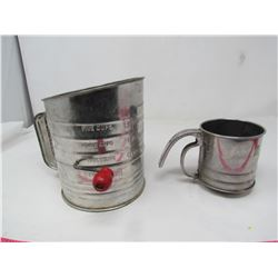 LOT OF 2 METAL FLOUR SIFTERS