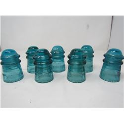 LOT OF 7 BLUE GLASS TELEPHONE INSULATORS (HEMINGRAY) (MADE IN U.S.A)