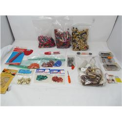 LOT OF ASSORTED BEADING AND SEWING SUPPLIES