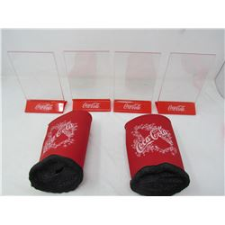 LOT OF 6 COCA-COLA ITEMS (4 X TABLETOP ADVERTISING HOLDERS) *2 X DRINK COOLERS*