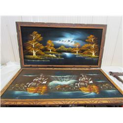 LOT OF 2 LARGE VELVET PAINTINGS (1 X LAKE AND FOREST SCENE) *1 X SAIL SHIP* (DAMAGE TO SAIL SHIP PIC